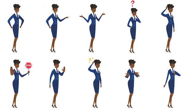 Set of stewardess characters. Premium Vector