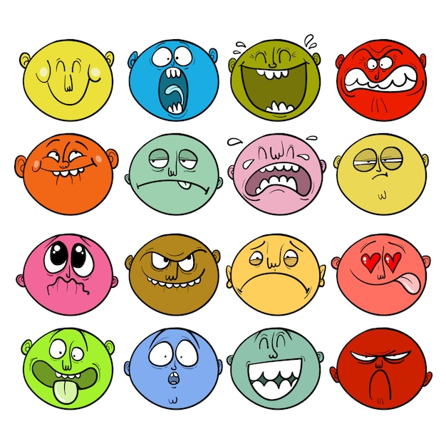Set of sticker faces with different emotions Premium Vector