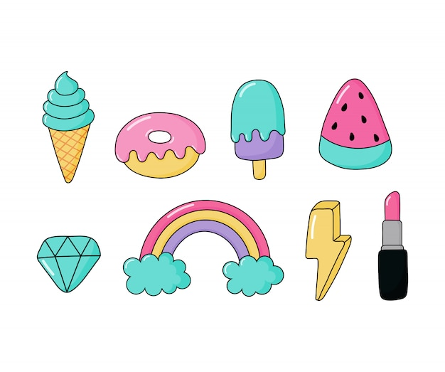 Set of stickers or icon fashion patch badges. cartoon 80s, 90s comic style for girls isolated Premium Vector