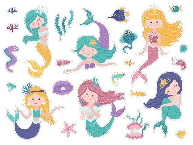 Set of stickers with cute mermaids and sea nature. Premium Vector