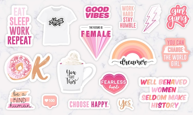 Set of stickers with girl power motivation phrases Premium Vector