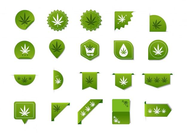ステッカーセットマリファナの葉cbdオイルラベルthc無料アイコン麻抽出エンブレムガンジャ大麻雑草バッジコレクションロゴデザインフラット水平 Premiumベクター
