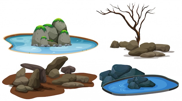 A set of stone and pond Premium Vector