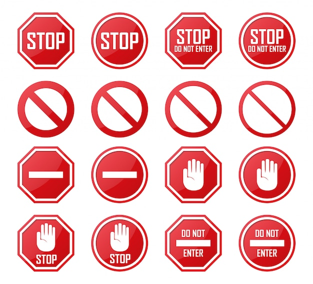 Set of stop, no enter, forbidden icons Premium Vector