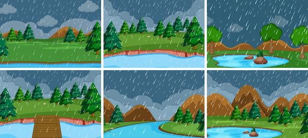 Set of storm outdoor scene Free Vector