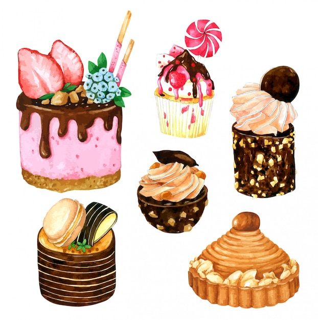 Set of strawberry and chocolate cake in watercolor Premium Vector