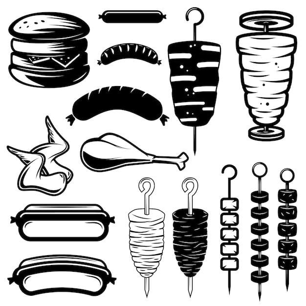 Set of street food  elements. burger, hot dog, kebab, chicken wings, barbecue. design element for logo, label,emblem, sign.  illustration Premium Vector