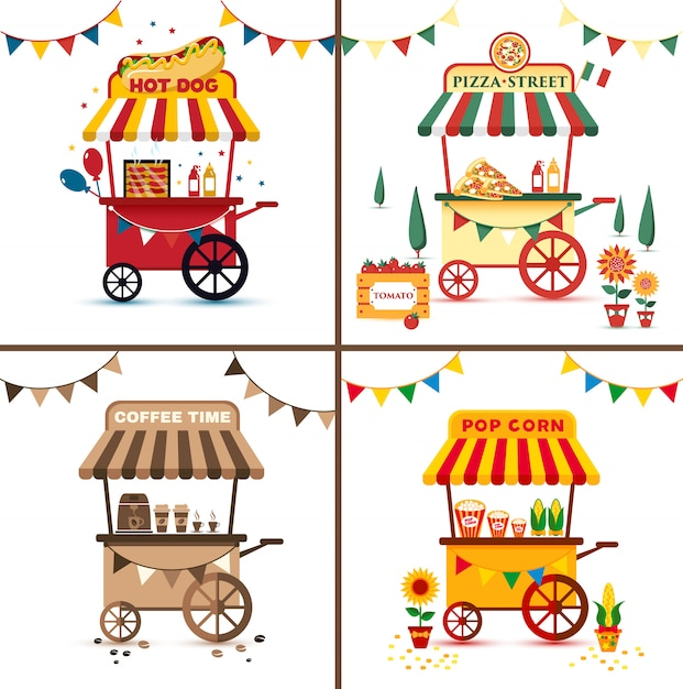 Set of street food with pizza, hot dog, coffee, pop corn. flat bright illustration. Premium Vector