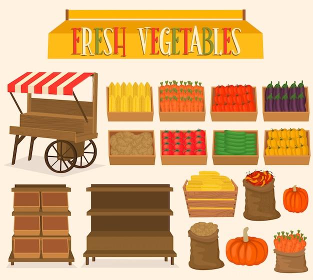 Set for street markets in vegetables Premium Vector