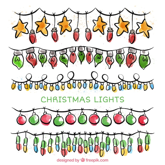 Set of string lights and hand drawn christmas elements Free Vector