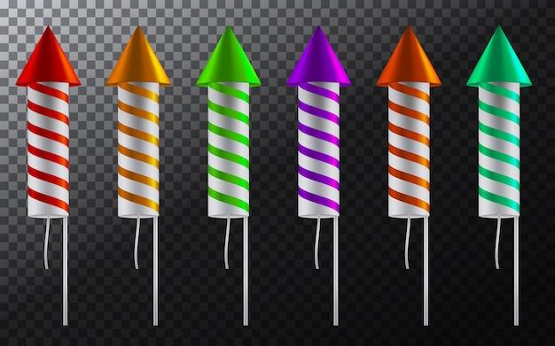 Set di fuochi d'artificio a strisce Vettore gratuito