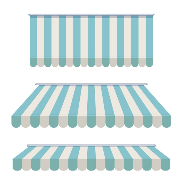 A set of striped awnings Premium Vector