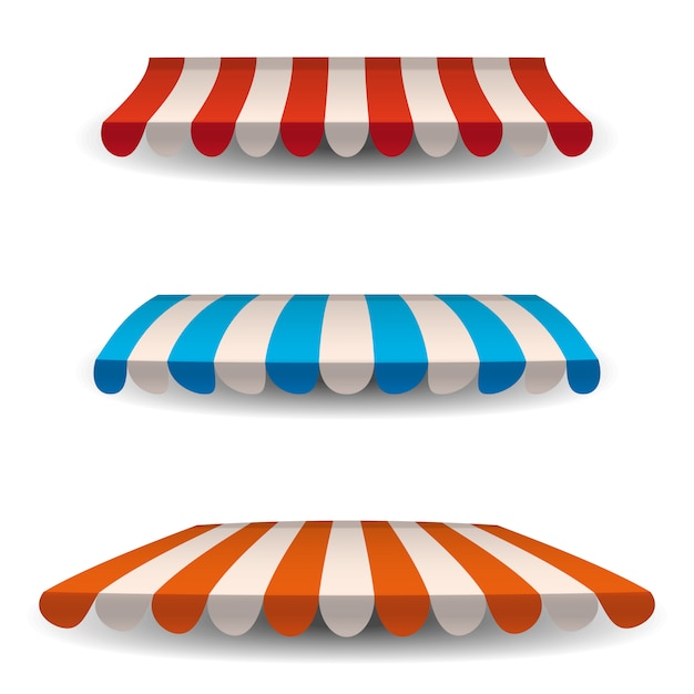 A set of striped red, blue, orange white awnings, canopies for the store. awning for the cafes and street restaurants. Premium Vector