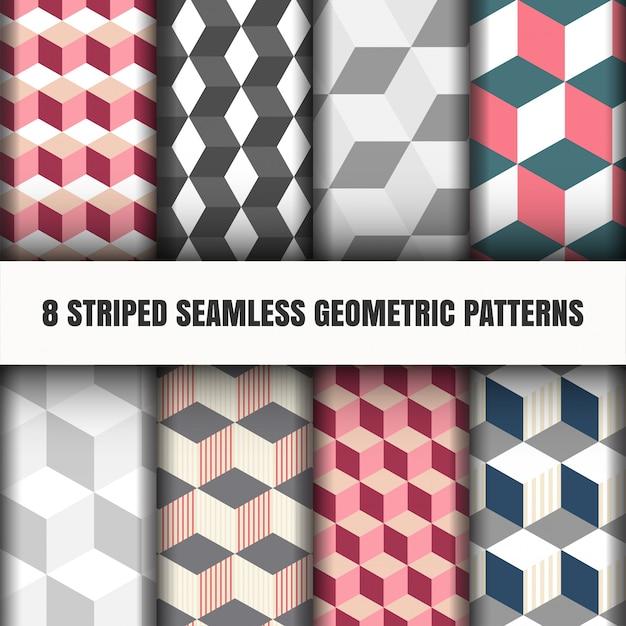 Set of striped seamless geometric pattern Free Vector
