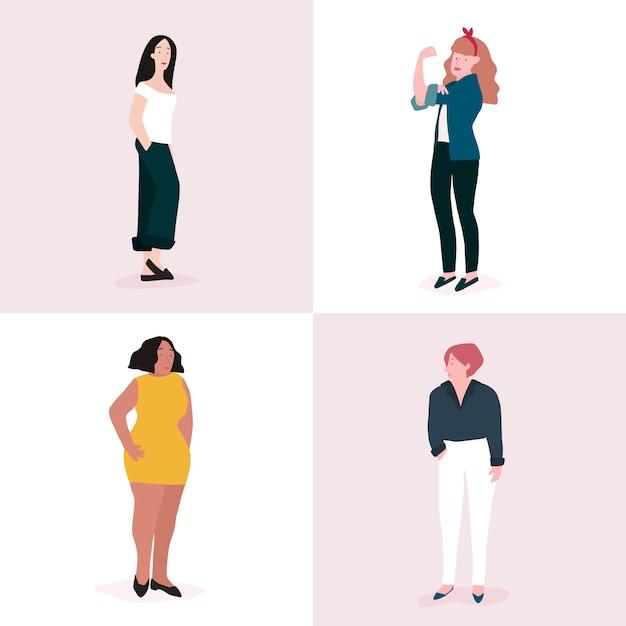 Set of strong women full body vector Free Vector