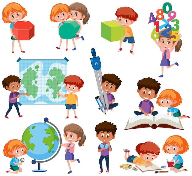 Set of student with learning tools Premium Vector
