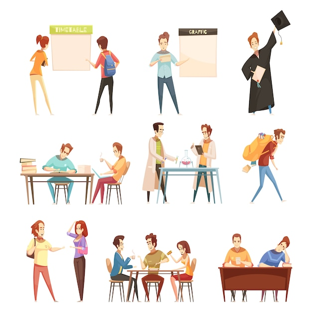 Set of students near timetable Free Vector