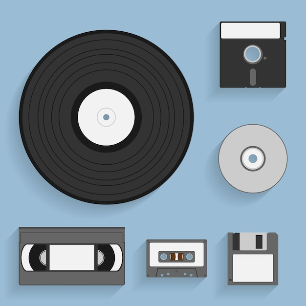 Set of  style icons of vintage data carriers Premium Vector