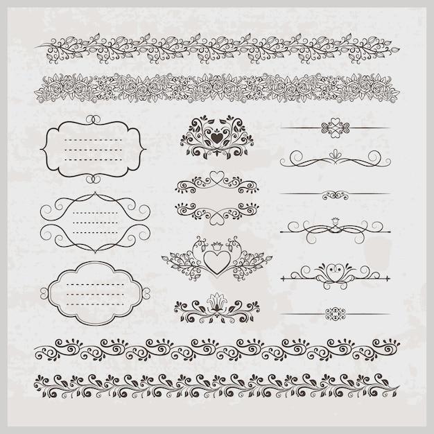 Set di elegante elegante calligrafico vintage pagina vettoriale decorazione bordi cornici e cuori con elementi floreali Vettore gratuito