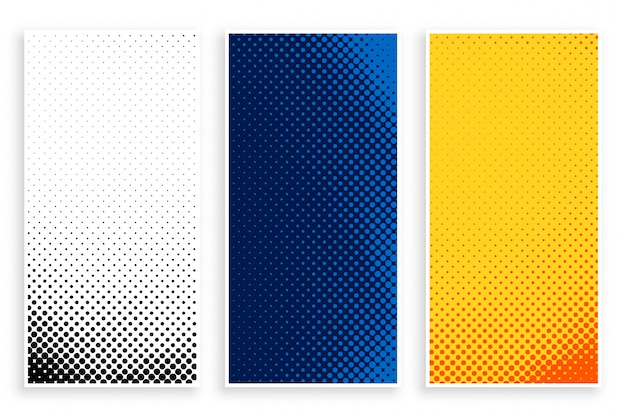 Set of stylish halftone banners set Free Vector