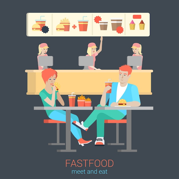 Set of stylish happy smiling flirt boy girl couple figures sitting fastfood table eating burger fries. flat people lifestyle situation fast food cafe restaurant meal time concept Free Vector