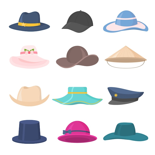 Premium Vector Set Of Stylish Mens And Womens Headwear Of Various Types Hats Caps Kepi Isolated On White Background Hat Cap Headgears For Ladies And Gentlemen Collection Of Fashion Accessories