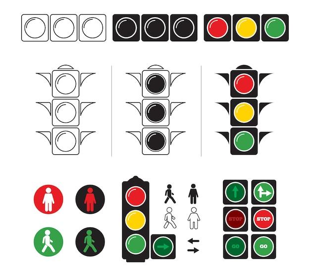 Set stylized illustrations of traffic light with symbols. Premium Vector