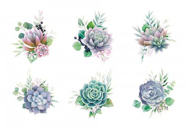 Set Of Succulent And Greenery Bouquets For Wedding Invite Or