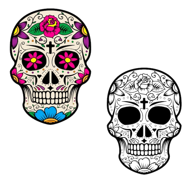 Set of sugar skulls isolated on white background. day of the dead. dia de los muertos. Premium Vector