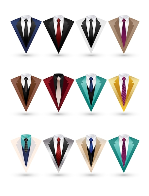 Set of suit and tuxedo flat design isolated Premium Vector
