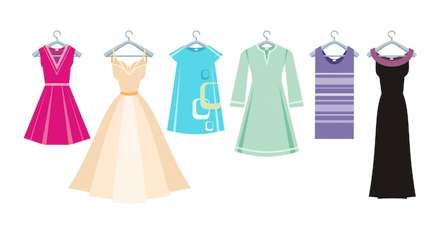 Set of summer and autumn dresses clothes for office Premium Vector