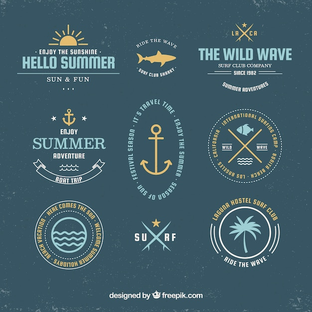 Set of summer badges with beach elements in hand drawn style Free Vector