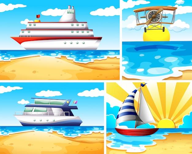 Set of summer beach background Free Vector