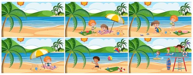 Set of summer beach scene Premium Vector