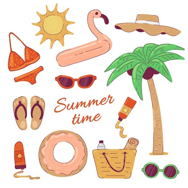 Set summer beach wear holidays travel.  bikini sunglasses and flamingo inable circle   illustration Premium Vector