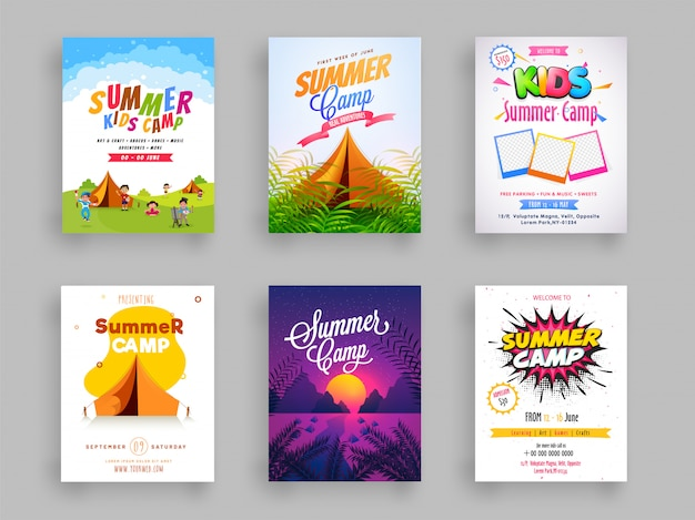 Set of summer camp flyer or template design. Premium Vector