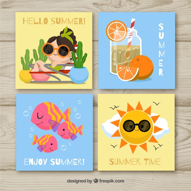 Set of summer cards in flat style Free Vector