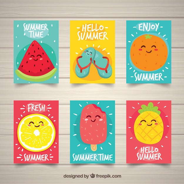 Set of summer cards with cute fruits Free Vector