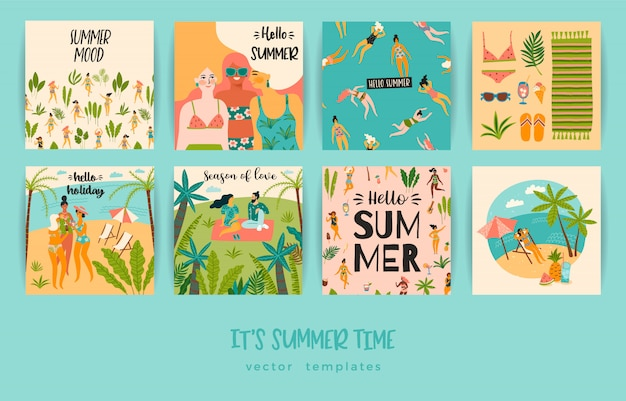 Set of summer cards with illustrations Premium Vector