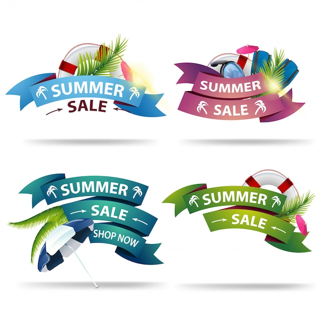 Set summer discount banner in the form of ribbons for your creativity. Premium Vector