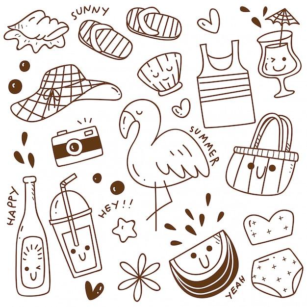 Set of summer doodle Premium Vector
