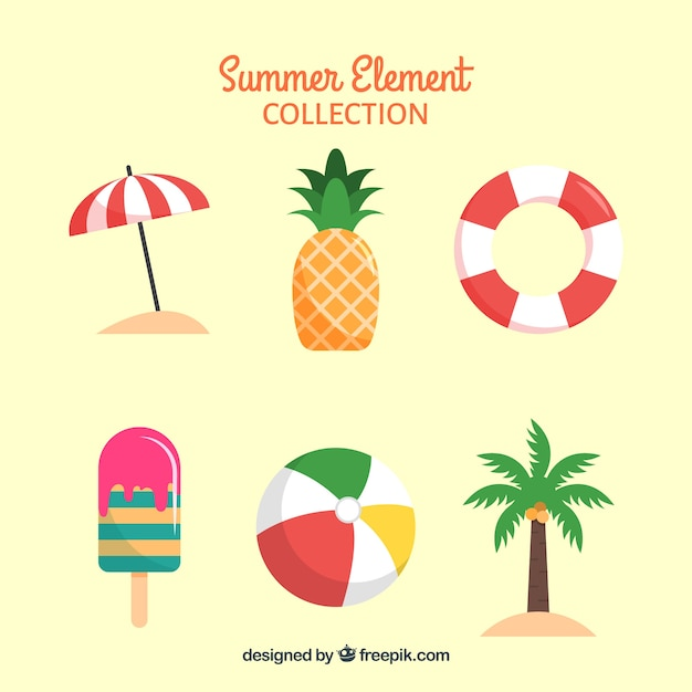 Set of summer elements with food and clothes in flat style Free Vector