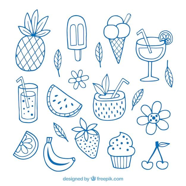Insieme di elementi estivi con frutta e bevande in mano disegnato stile Vettore gratuito
