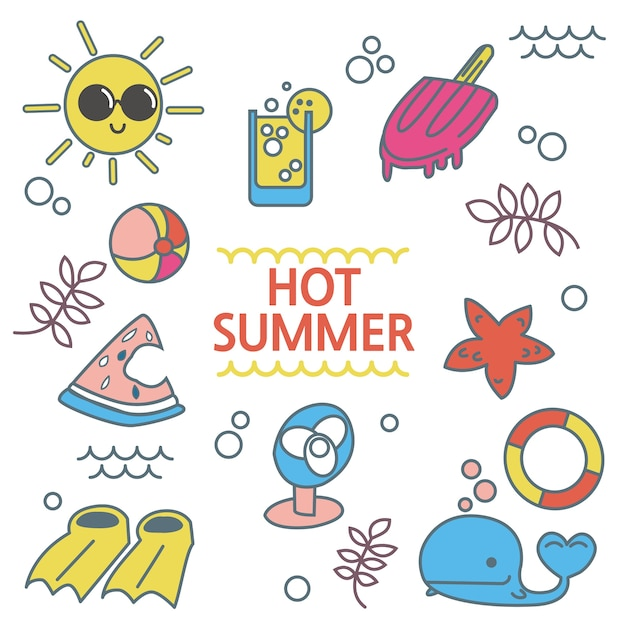 Set of summer elements Premium Vector