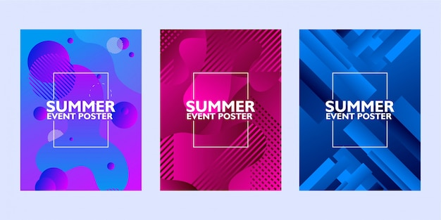 Set of summer event poster with abstract shape on colorful background Premium Vector