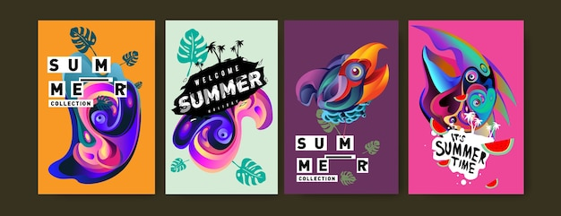 Set of summer illustration for poster Premium Vector