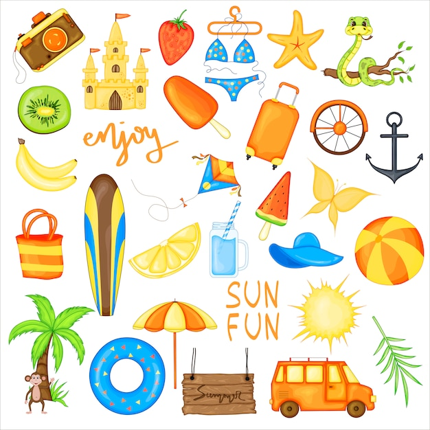 Set of summer items for vacation Premium Vector