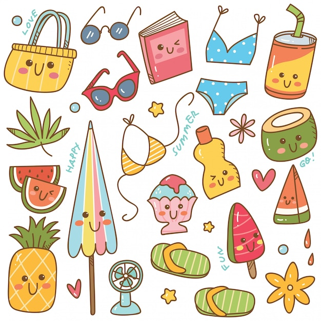 Set of summer related object in kawaii doodle style Premium Vector