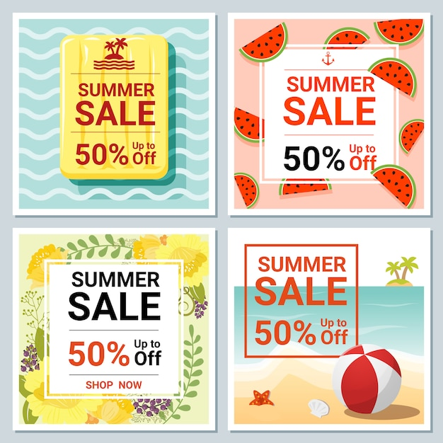 Set of summer sale template banner Premium Vector