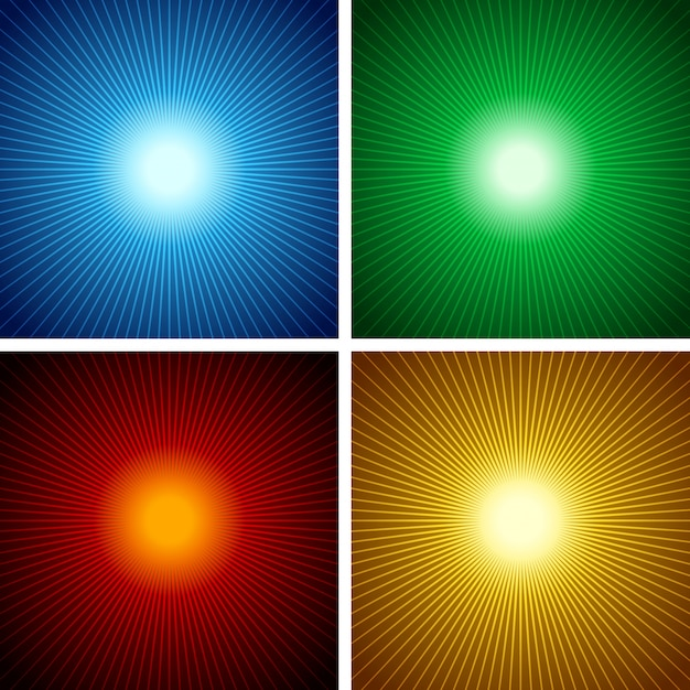Set of sunburst background Premium Vector